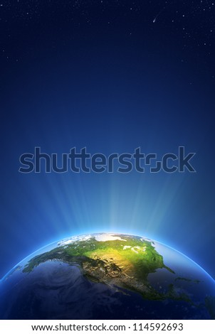 Earth Radiant Light Series - North America  (Elements of this image furnished by NASA- earthmap  http://visibleearth.nasa.gov) - stock photo