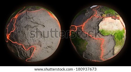 Earth's fault lines between tectonic plates - stock photo