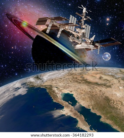 Earth satellite astronomy international space station iss saturn planet moon. Elements of this image furnished by NASA. - stock photo