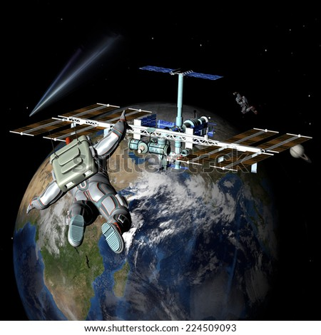 Earth satellite space station with astronauts. Elements of this image furnished by NASA. - stock photo