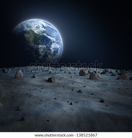 "Earth seen from the moon?""Elements of this image furnished by NASA""  - stock photo"