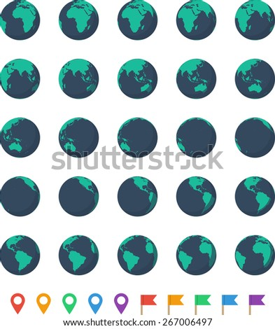 Earth Set. Twenty five Earth globes from different angles and ten pointer icons. - stock photo