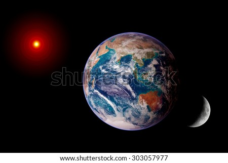 Earth sun moon isolated solar system planet astrology astronomy space. Elements of this image furnished by NASA. - stock photo