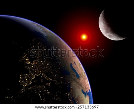 Earth Sun Moon lunar solar eclipse outer space planet. Elements of this image furnished by NASA. - stock photo