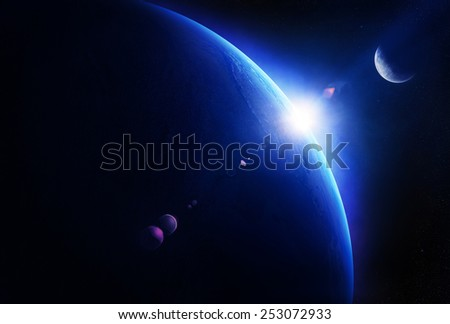 Earth sunrise with moon in deep space ( Elements of this 3D render furnished by NASA - Texture maps from http://visibleearth.nasa.gov ) - stock photo