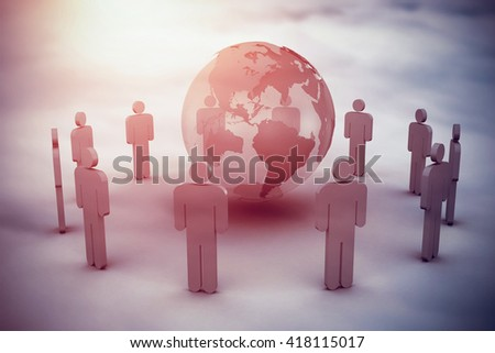 Earth surrounded by men against cloudy sky - stock photo