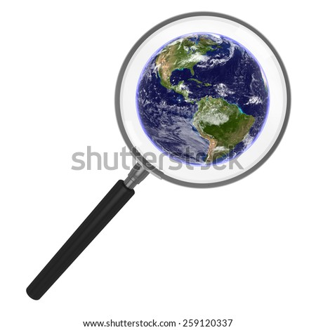 Earth under a Magnifying Glass - ??Elements of this image furnished by NASA - stock photo