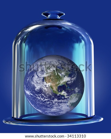 earth under bell glass - stock photo