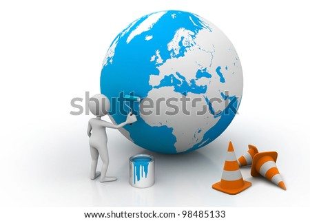 EARTH Under construction New concept - stock photo