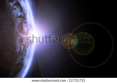 Earth view from outer space - stock photo