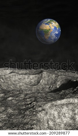 Earth view from the moon - stock photo