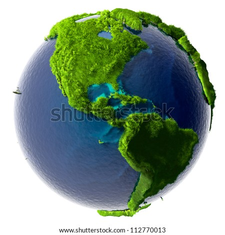 Earth with a pure transparent ocean is completely covered with lush green grass - a symbol of a clean environment, rich in natural resources and good environmental conditions - stock photo