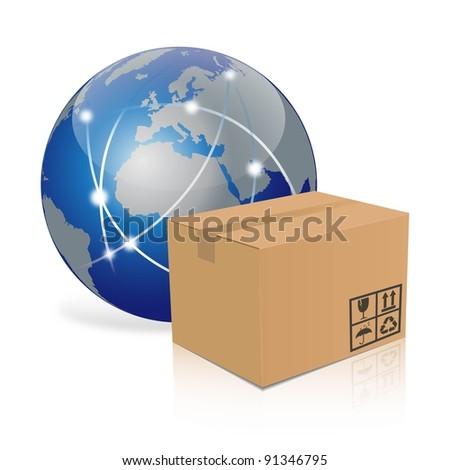 earth with cardboard box - stock photo
