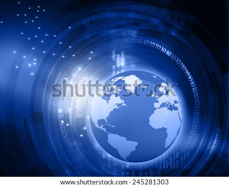 Earth with digital fiber, global internet concept 	 - stock photo