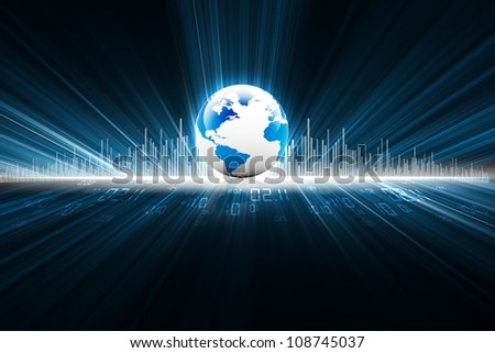 earth with digital fibers - stock photo