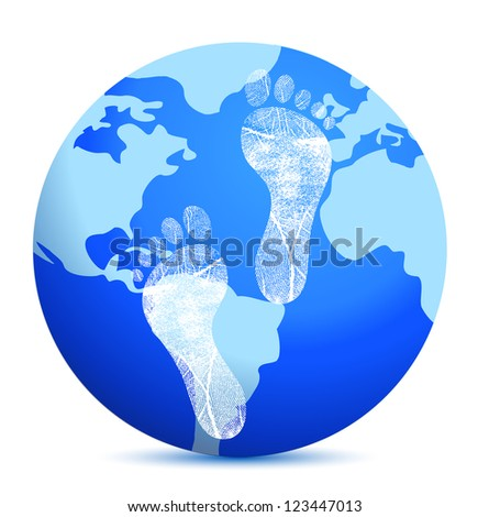 earth with footprints illustration design over white - stock photo