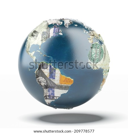 Earth with ground of dollars. map provided by NASA - stock photo