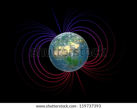 Earth with it's magnetosphere - stock photo
