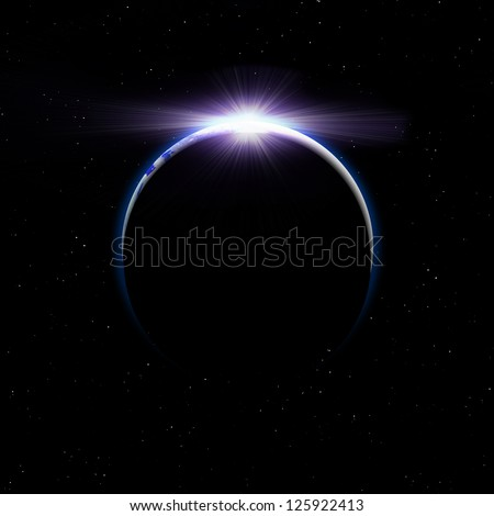 Earth with rising sun in space - stock photo