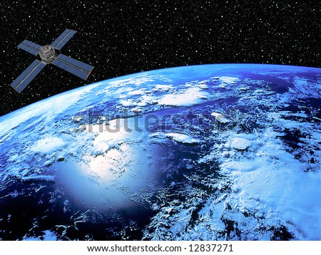 Earth With Satellite - stock photo