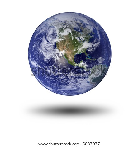 Earth With Shadow, North America And Pacific - stock photo