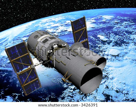 Earth with Space Telescope in high Orbit with star scape background - stock photo