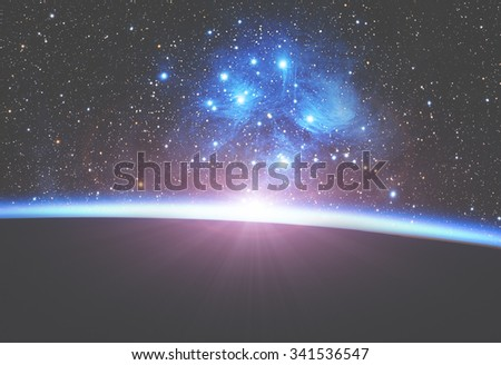 Earth with starry background. My astronomy work. No elements of NASA or other third party. - stock photo