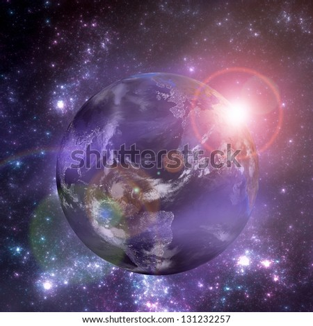 Earth with the rising sun. Day and night on the Earth. Elements of this image furnished by NASA - stock photo