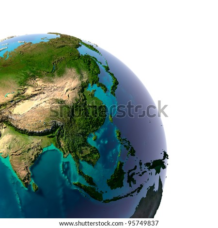 Earth with translucent water in the oceans and the detailed topography of the continents. A fragment of the Asia and Oceania. Isolated on white - stock photo