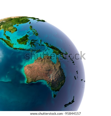 Earth with translucent water in the oceans and the detailed topography of the continents. A fragment of Australia and Oceania. Isolated on white - stock photo
