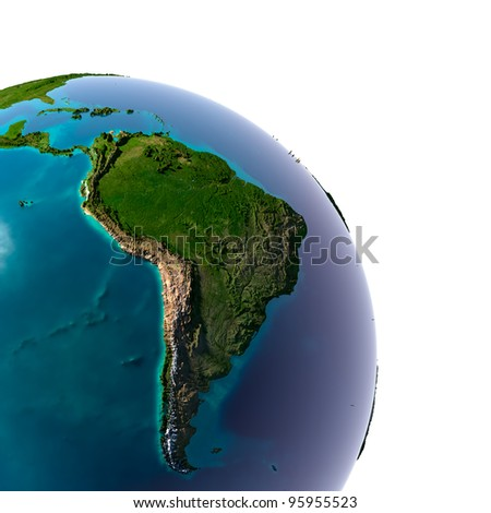 Earth with translucent water in the oceans and the detailed topography of the continents. Detail of the Earth with South America. Isolated on white. - stock photo