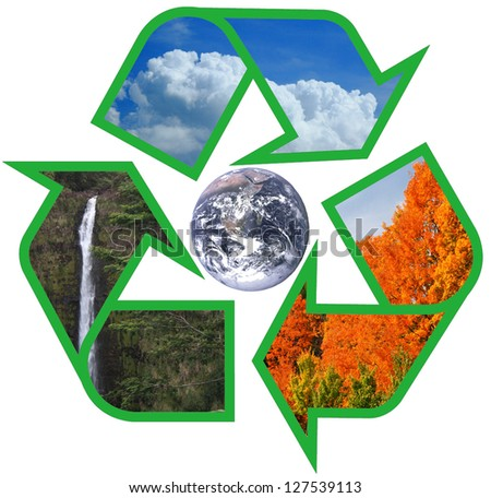 earth within sky water and trees recycle symbol - Elements of this image furnished by NASA - stock photo