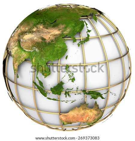 Earth world map.Australia and Asia on a planet globe. The Earth texture of this image furnished by NASA - stock photo