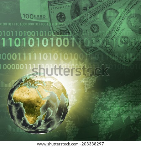 Earth, world map consisting digits on money background. Business concept. Elements of this image are furnished by NASA - stock photo