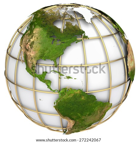 Earth world map. North and South America on a planet globe. The Earth texture of this image furnished by NASA - stock photo