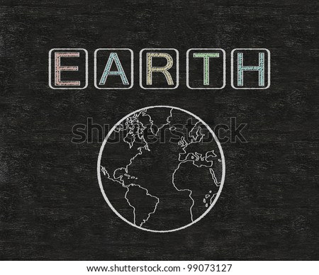 earth written on blackboard with earth symbol, background, high resolution - stock photo