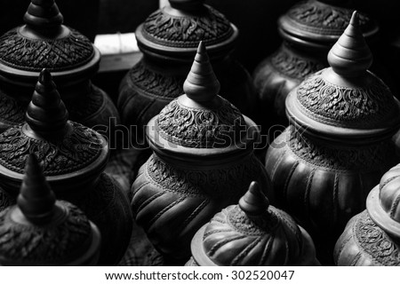 Earthenware Black and White - stock photo