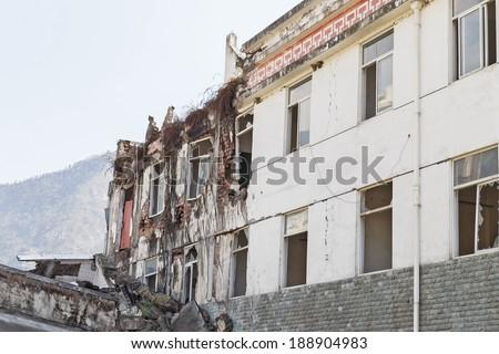 earthquake house - stock photo