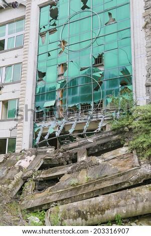 earthquake  house after May 12,2008  at beichuan,mianyang,china - stock photo