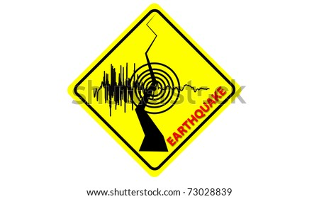 earthquake symbol on road sign. - stock photo