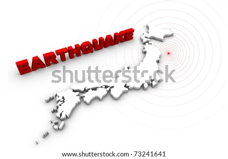 Earthquake text with Japan map. Japan earthquake disaster 2011. - stock photo