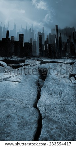 Earthquake town illustration - stock photo