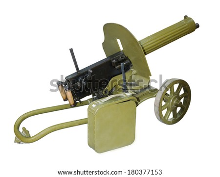 Easel machine gun, Maxim's system of the sample of 1910-is isolated on the white - stock photo