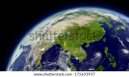 East Asia viewed from space with atmosphere and clouds. Elements of this image furnished by NASA. - stock photo