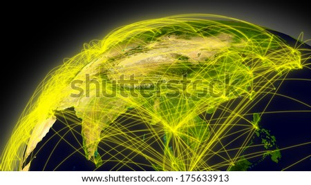 East Asia viewed from space with connections representing main air traffic routes. Elements of this image furnished by NASA. - stock photo
