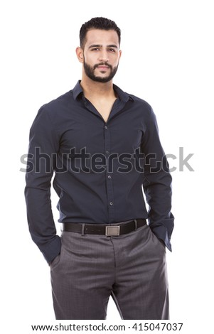 east asian handsome businessman on white isolated background - stock photo