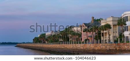 East Battery Row, Charleston, SC at Dawn - stock photo