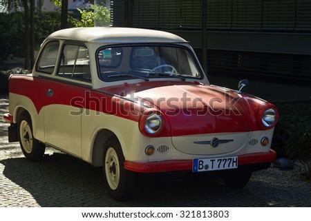 East-German plastic vintage car parked - stock photo