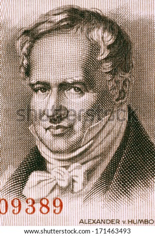 EAST GERMANY - CIRCA 1954: Alexander von Humboldt (1769-1859) on 5 Marks 1954 Banknote from East Germany. Prussian geographer, naturalist and explorer. - stock photo