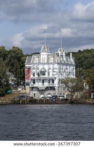 EAST HADDAM, CT Sept 20: Goodspeed Opera House in East Haddam, CT, an historic theater in East Haddam, CT on Sept. 20, 2014. - stock photo
